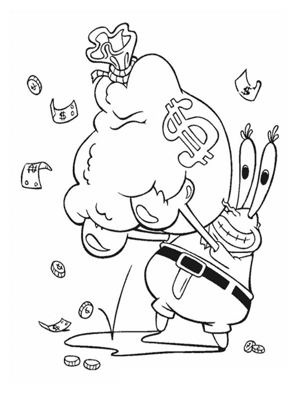 Mr Krabs With A Bag Full Of Money In Krusty Krab Coloring Page on money bag cartoon