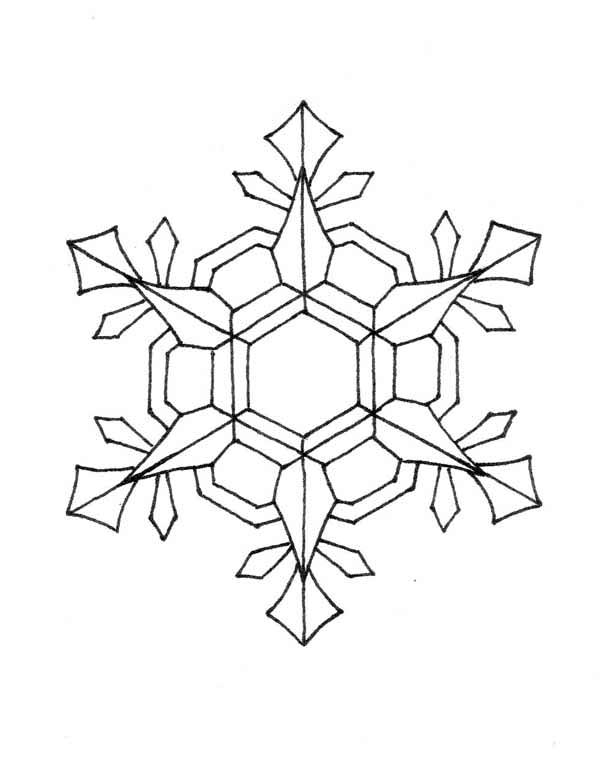 Snowflakes, : Nifty Snowflakes Coloring Page