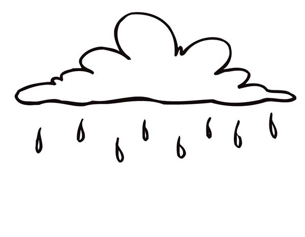 raindrop falling from beautiful cloud coloring page