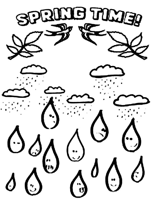 Raindrop, : Raindrop in Spring Time Coloring Page