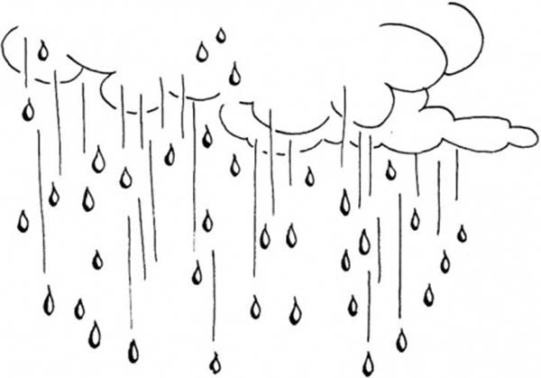 Raindrop, : Raining Day Raindrop Falling from the Sky Coloring Page