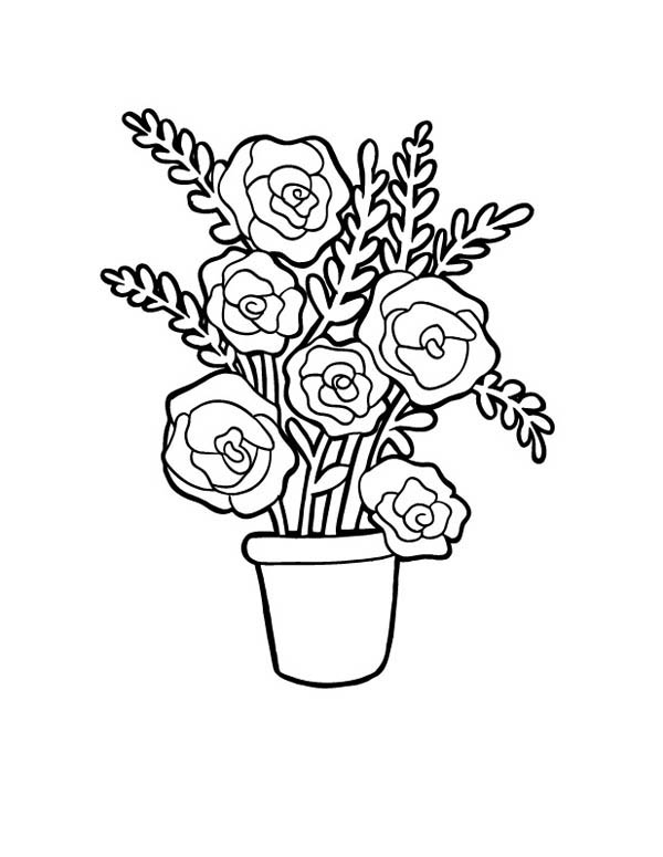 Red Roses In Vase For Flower Bouquet Coloring Page