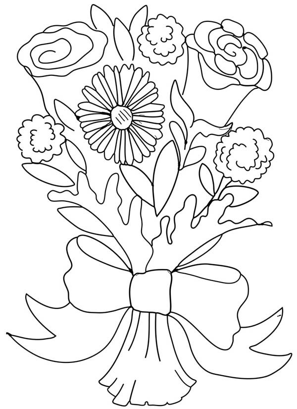 flower bouquet rose and carnation flower bouquet coloring page