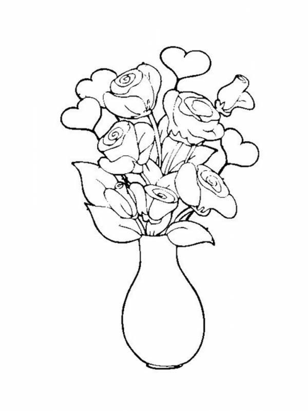 Rose in Vase Flower Bouquet Coloring Page Color Luna
