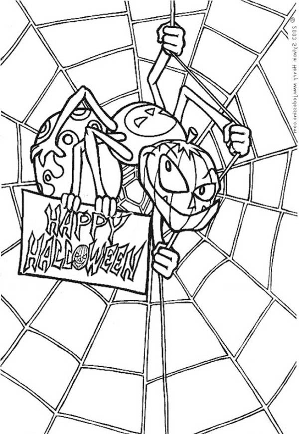 Spider, : Scary Spider with Spider Web Coloring Page