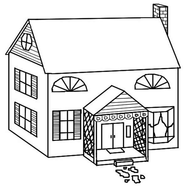 House, : Simple Drawing of Houses Coloring Page