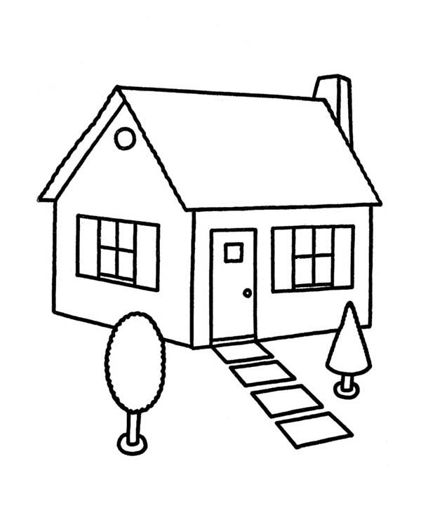 Coloring Pages Of House. Sketch House In Houses Coloring Page in  Color Luna