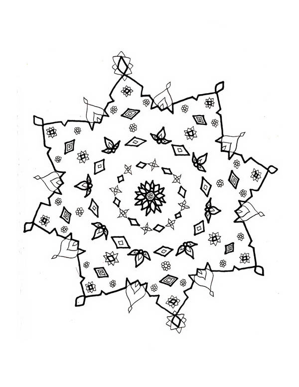 Snowflakes, : Snowflakes Drawing Coloring Page