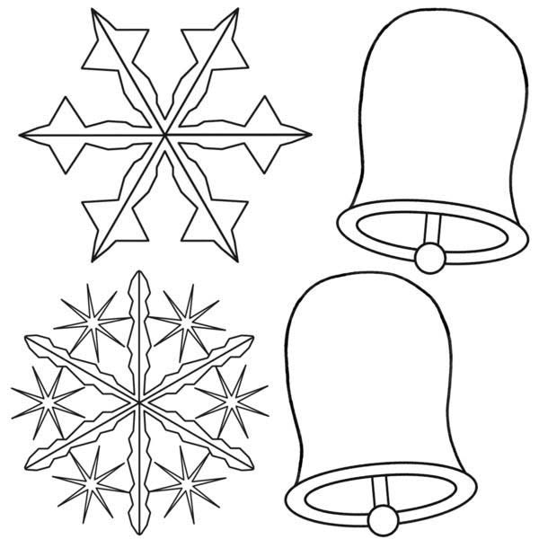 Snowflakes, : Snowflakes and Christmas Bell Coloring Page