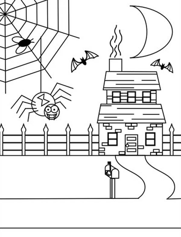 Spider Web on Haunted House Coloring Page | Color Luna