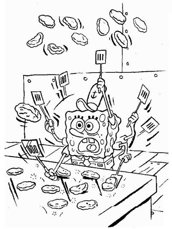 Krusty Krab, : SpongeBob Making Patty in Krusty Krab Coloring Page