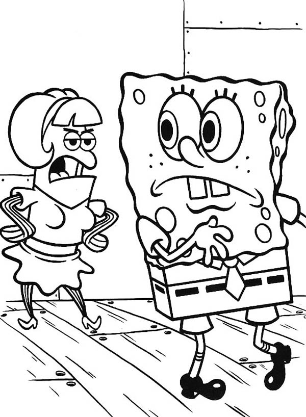 SpongeBob and Guest in Krusty Krab Coloring Page | Color Luna