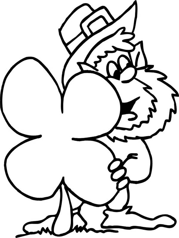 St Patricks Day Leprechaun and Four-Leaf Clover Coloring Page ...