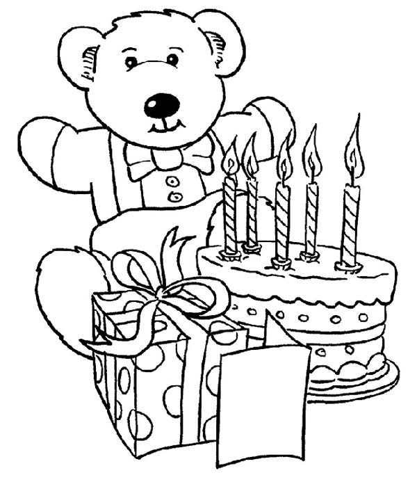 Happy Birthday, : Teddy Bear and Present and Happy Birthday Cake Coloring Page