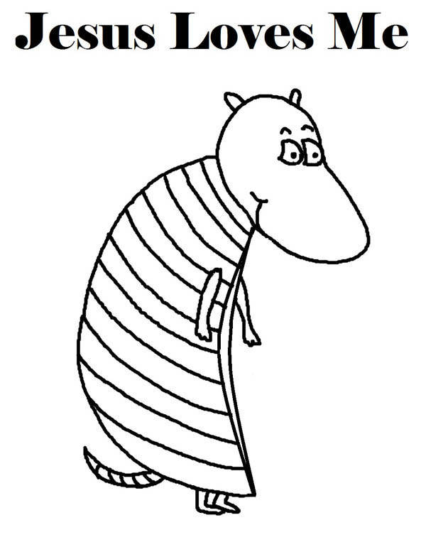 the armadillo says jesus loves me coloring page