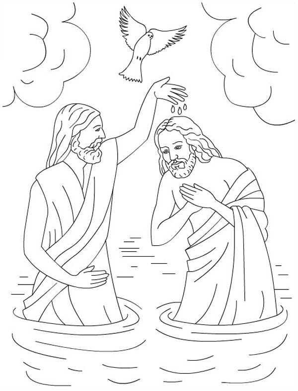 Jesus Loves Me, : The Baptism of Jesus in Jesus Love Me Colorig Page