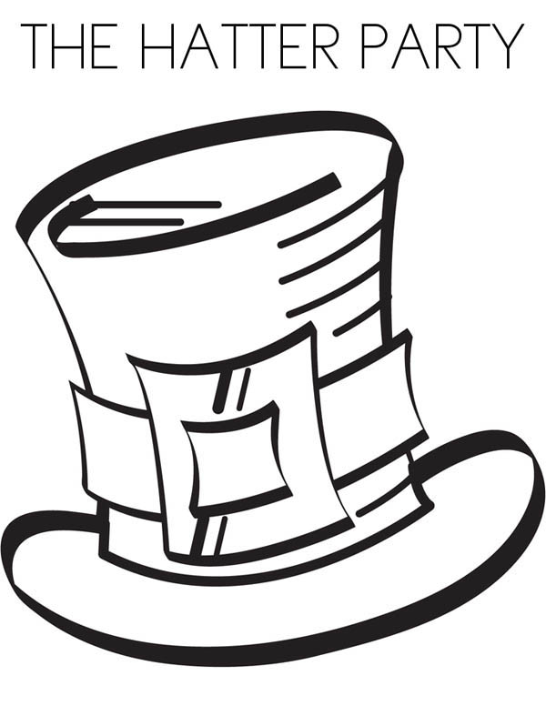 Mad Hatter, : The Hatter Party in Mad Hatter Coloring Page
