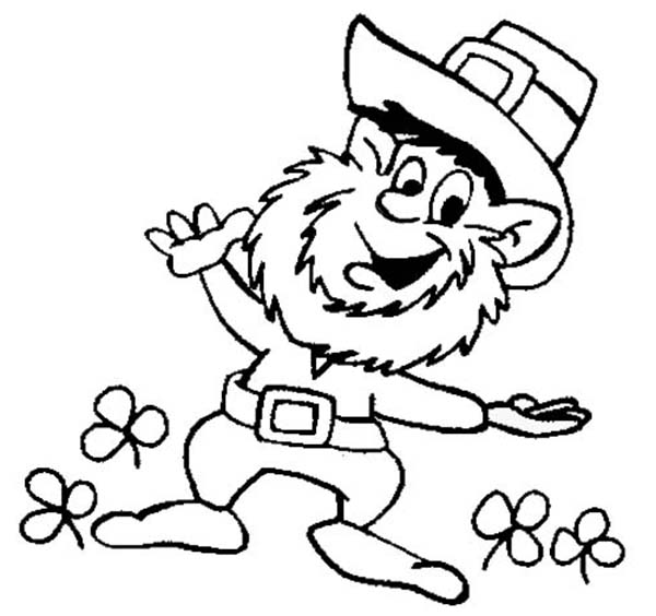 This Leprechaun Doing St Patricks Day Dance Coloring Page | Color Luna