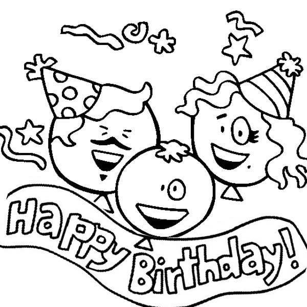 Happy Birthday, : Three Happy Birthday Baloons Coloring Page