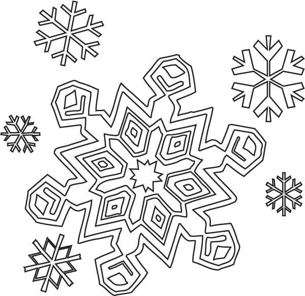 Snowflakes, : Winter Season Snowflakes Coloring Page
