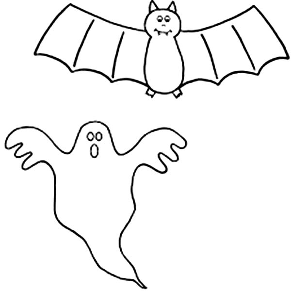 Bats, : A Bats and A Ghost Coloring Page