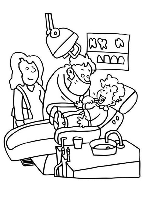 Dental Health, : A Boy Checking His Teeth to Dentist in Dental Health Coloring Page