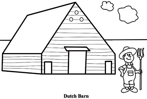 Barn, : A Farmer and Dutch Barn Coloring Page