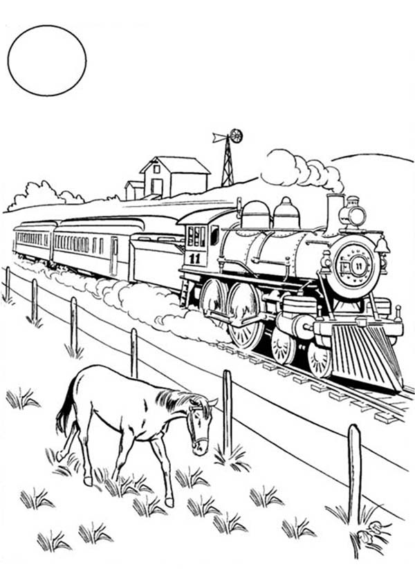 A horse eating beside railroad coloring page a horse for Printable steam train coloring pages