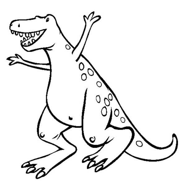 T-Rex, : A Very Happy T Rex Coloring Page