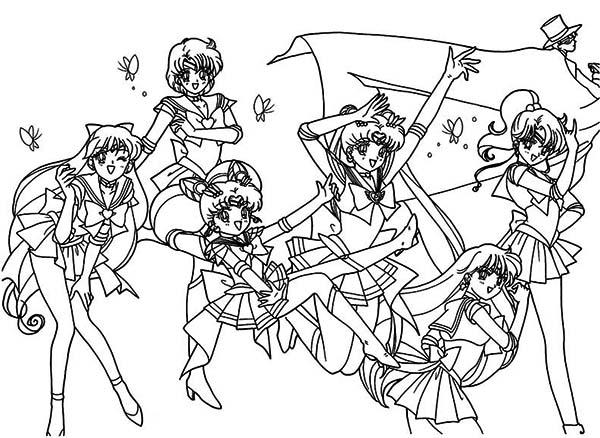 all character of sailor moon coloring page