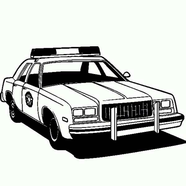Police Car, : Amazing Picture of Police Car Coloring Page