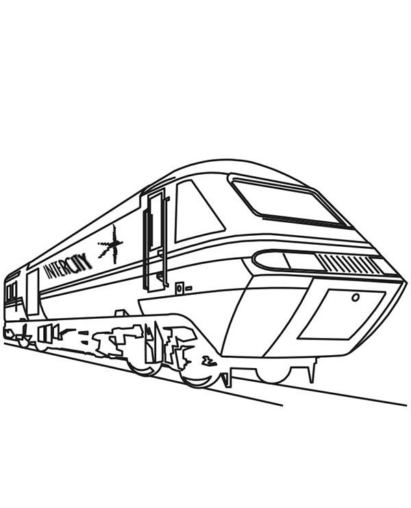 Trains, : Amazing Speed of Train Coloring Page