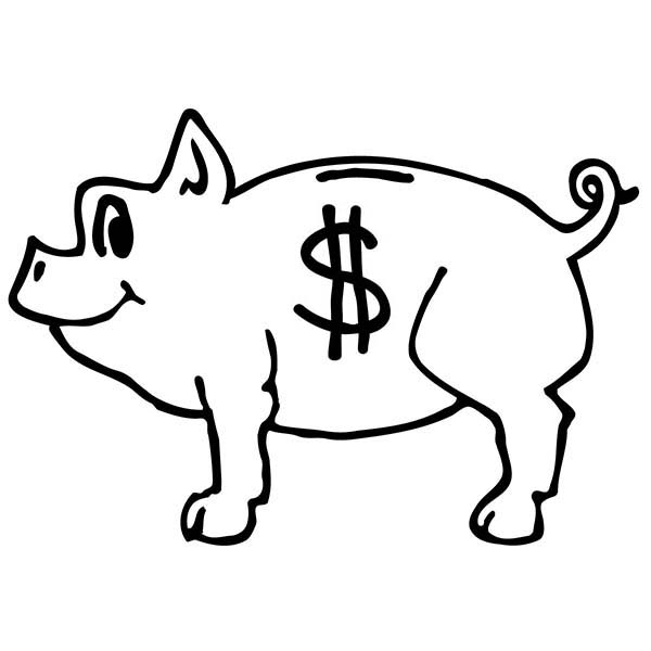 Piggy Bank, : American Dollar Only Piggy Bank Coloring Page