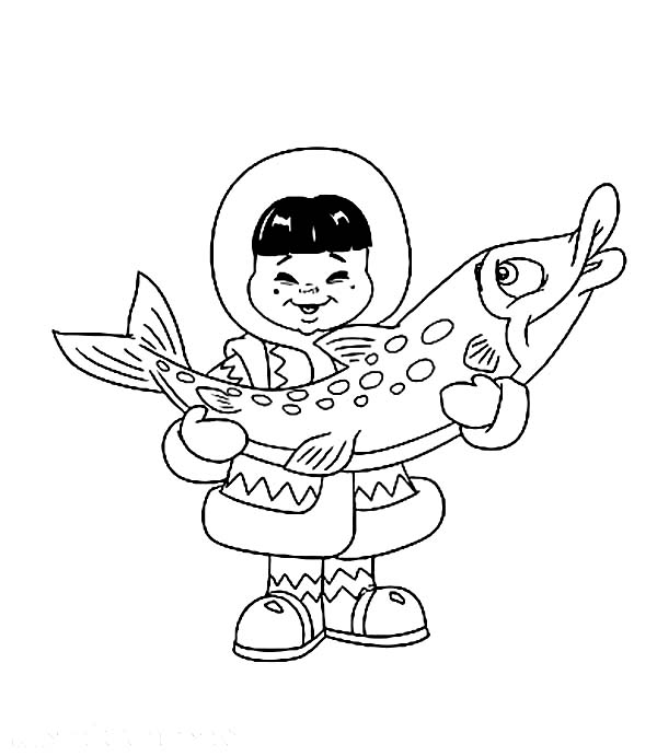 Eskimo, : An Eskimo Boy Holding Big Fish Coloring Page