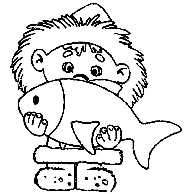 Eskimo, : An Eskimo Boy and Big Fish Coloring Page
