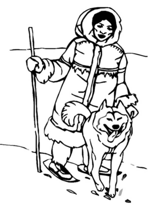 An eskimo hunting with husky coloring page color luna for Inuit coloring pages
