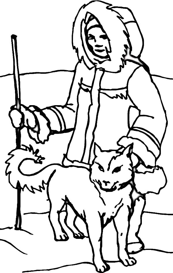 Eskimo, : An Eskimo with Husky in the North Coloring Page