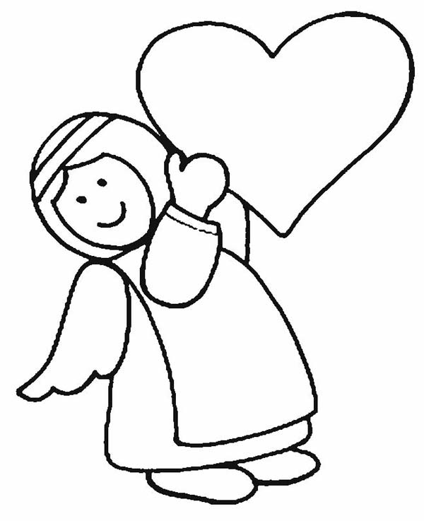 Angels, : Angels Bring Love Coloring Page