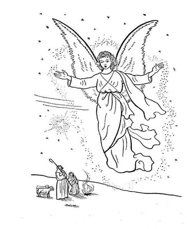 Angels, : Angels Come to All of Us Coloring Page