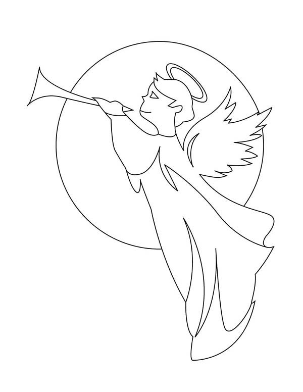 angels gabriel with trumpet coloring page