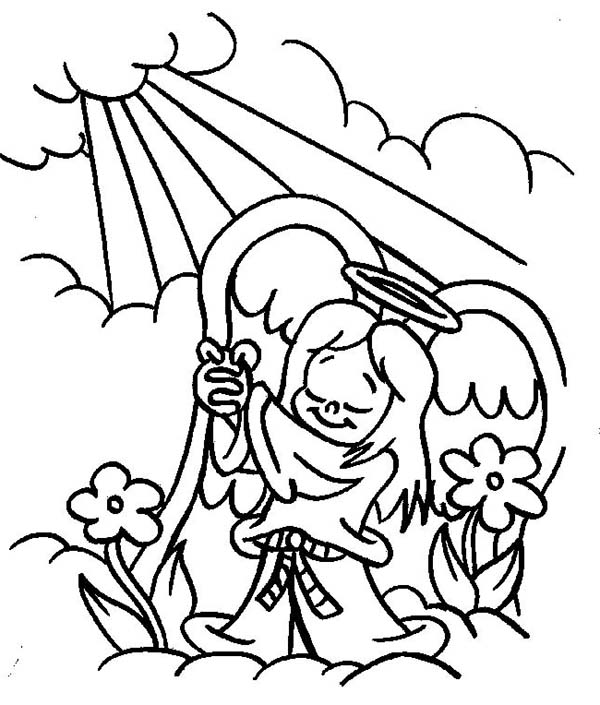 Angels, : Angels Praise to the God Lord Coloring Page