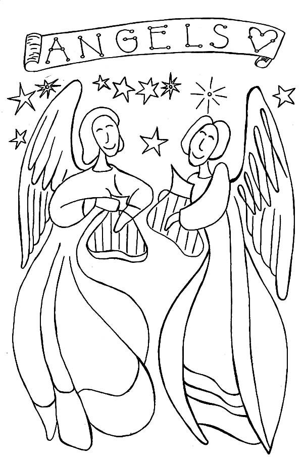 Angels, : Angels Singing with Harp Coloring Page