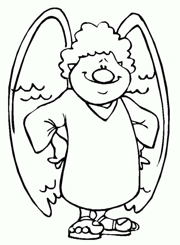 Angels, : Angels with Big Nose Coloring Page