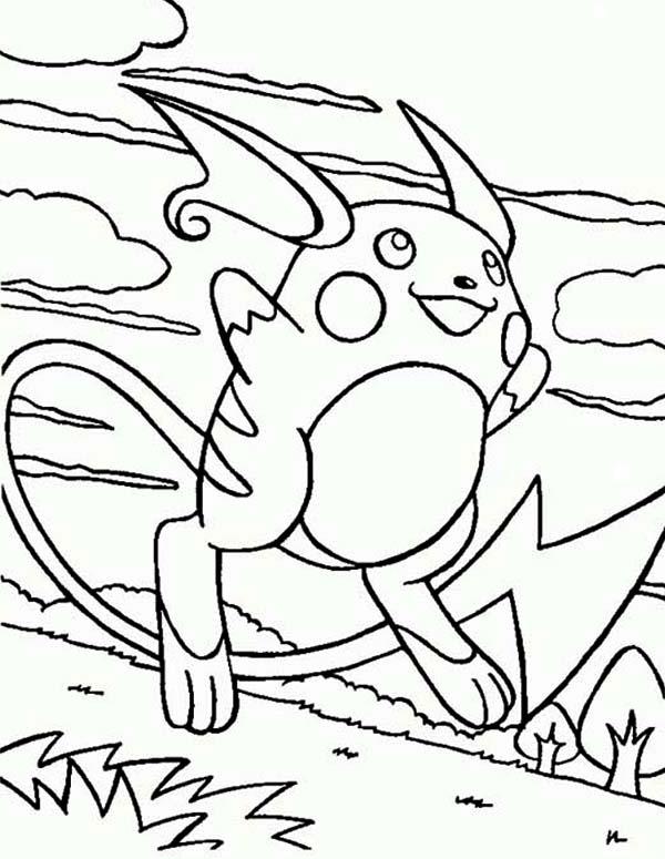 Raichu, : Anime Raichu Coloring Page