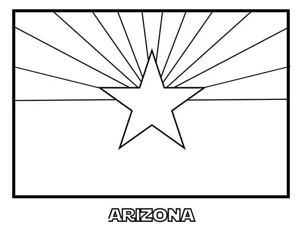 Arizona State Flag Coloring Page Color Luna