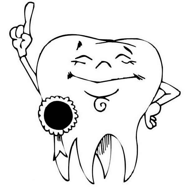 Dental Health, : Award Winning Tooth in Dental Health Coloring Page