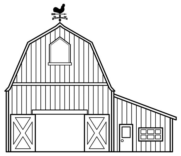 Barn, : Awesome Draw of a Barn Coloring Page