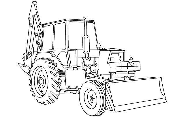 Digger, : Awesome Excavator in Digger Coloring Page