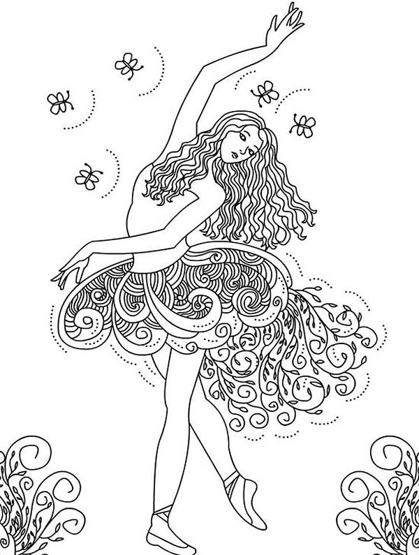 Ballerina, : Awesome Picture of Ballerina Coloring Page