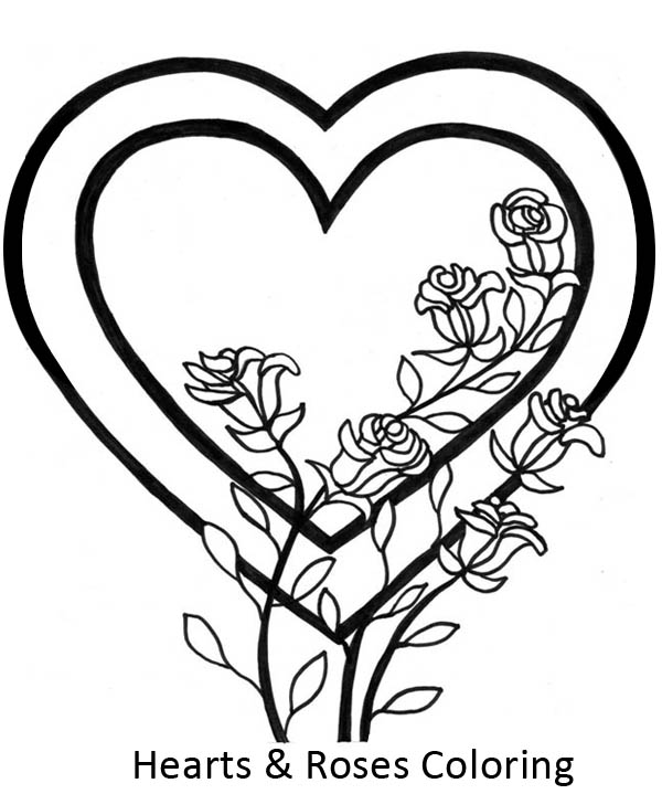Awesome Picture of Hearts and Roses Coloring Page | Color Luna